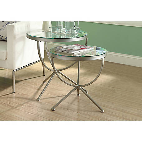 Monarch Specialties 2 Piece Round Nesting Table Set, Silver With Tempered  Glass At Tractor Supply Co.