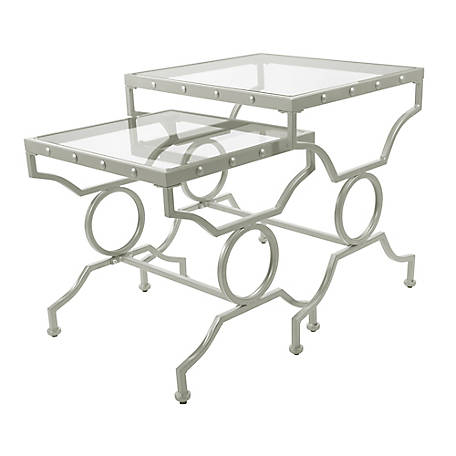 Monarch Specialties 2-Piece Rectangular Nesting Table Set, Silver with Tempered Glass
