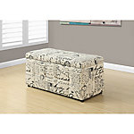 Monarch Specialties 38 in. L Storage Ottoman, Vintage French Fabric