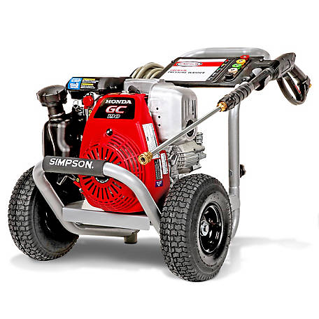 Simpson MegaShot 3300 PSI at 2.4 GPM HONDA GC190 with OEM Technologies Axial Cam Pump Residential Gas Pressure Washer, 60921