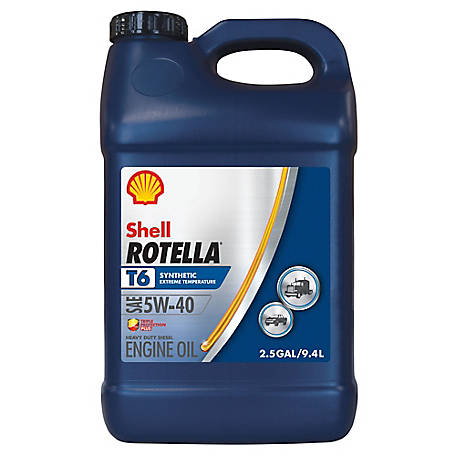 Shell Rotella T6 Full Synthetic 5W-40 Heavy-Duty Motor Oil, 2.5 gal., 550046215