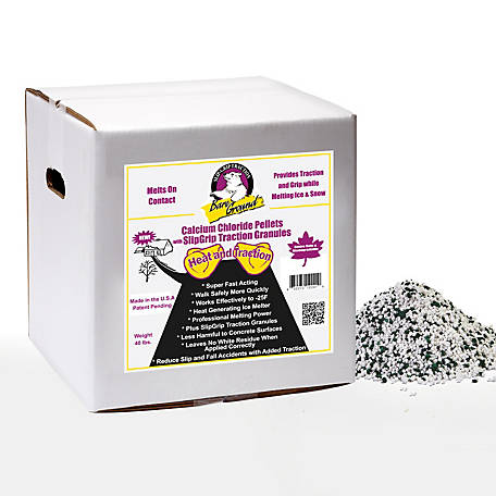 Bare Ground Winter Calcium Chloride Pellets with Infused Traction Granules, 40 lb. Box, CCPSG-40