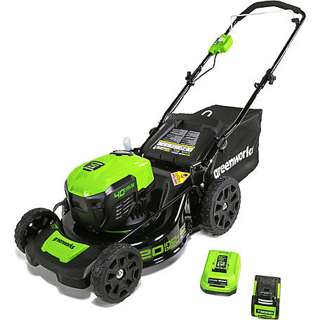 Greenworks MO40L410 G-MAX 40V 20 in. Cordless 3-in-1 Lawn Mower with Smart Cut Technology, 4Ah Battery and Charger Included