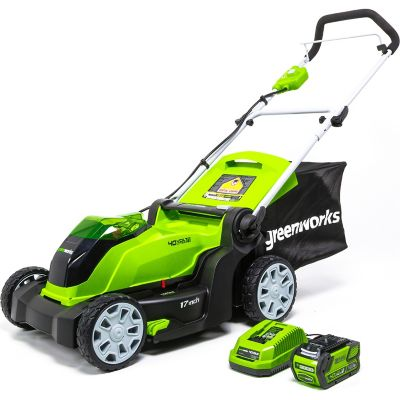 Greenworks MO40B411 G-MAX 40V 17 in. 2-in-1 Mower with 4Ah Battery and Charger