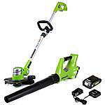 Greenworks STBA24B210 G-24 24V String Trimmer and Axial Blower Combo with 2Ah Battery and Charger