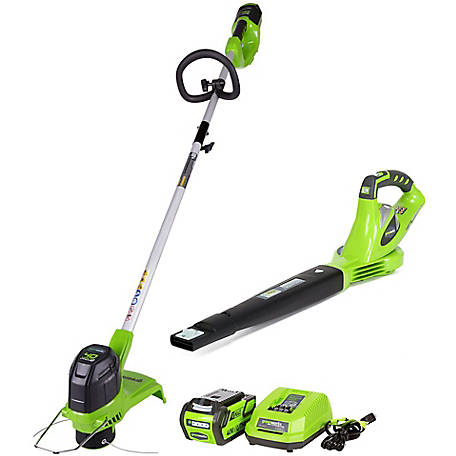 Greenworks STBA40B210 40V String Trimmer and Axial Blower with 2Ah Battery and Charger