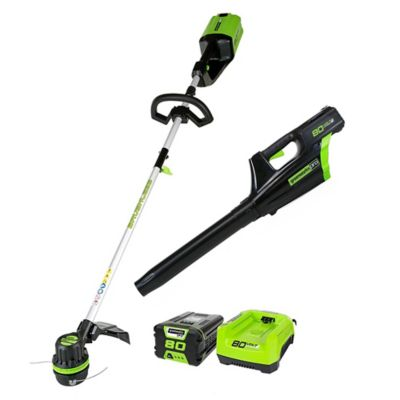 Buy Greenworks Pro STBA80L210 80V Cordless String Trimmer and Blower Combo with 2Ah Battery and Charger Online