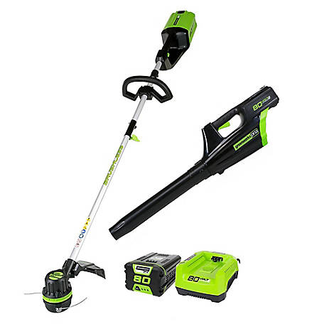 Greenworks Pro STBA80L210 80V Cordless String Trimmer and Blower Combo with 2Ah Battery and Charger, 1301402AZ