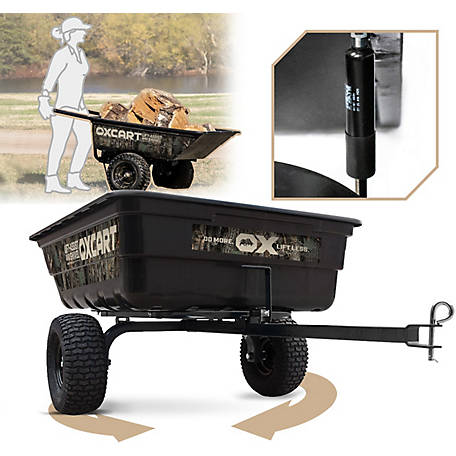 OxCart Realtree 12-14 cu. ft. Half-Ton Hauler Lift-Assist and Swivel Dump Cart with Run-Flat Technology