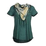 Live & Let Live Women's Short Sleeve Knit Top with Fringe Scarf