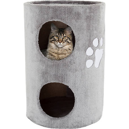 Petmaker 2-Story Double Hole Cat Condo with Scratching Surface, 14 in. dia. X 20.5 in. H