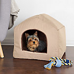 Petmaker Cozy Cottage House Shaped Pet Bed, Tan