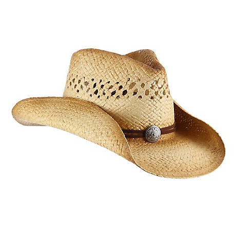 Milano Straw Outback Shape Western with Faux Leather Suede Cord And Silver Concho Hat