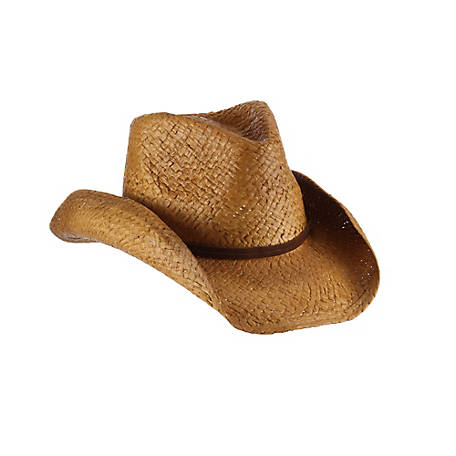 Milano Straw Outback Shape Western with Faux Leather Suede Cord Hat