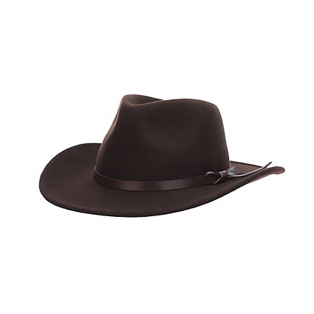 Milano Crushable Wool Felt Outback with Deluxe Faux Leather Trim Hat