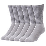 Blue Mountain Men's Large Grey Cushioned Crew Sock, Pack of 6 Pairs