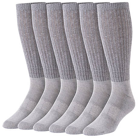 Blue Mountain Men's Large Grey Cushioned Over the Calf Sock, Pack of 6 Pairs
