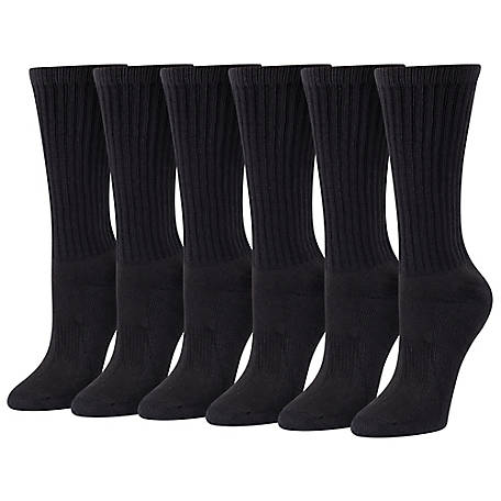 Blue Mountain Women's Odor Control Crew Socks, 6 Pack
