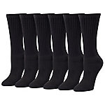 Blue Mountain Women's Medium Black Cushioned Crew Sock, Pack of 6 Pairs