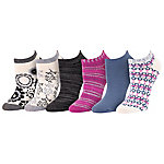 Blue Mountain Women's Medium Pattern Fashion No Show Sock, Pack of 6 Pairs