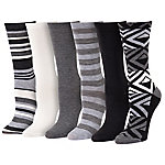 Blue Mountain Women's Medium Black and White Fashion Crew Sock, Pack of 6 Pairs