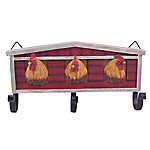 Red Shed 3-Hook Wall Mounted Barn Rack with 3 Faux Chickens