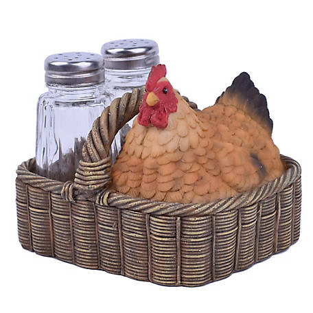 Red Shed Salt And Pepper Shakers With Faux Chicken In A Basket At