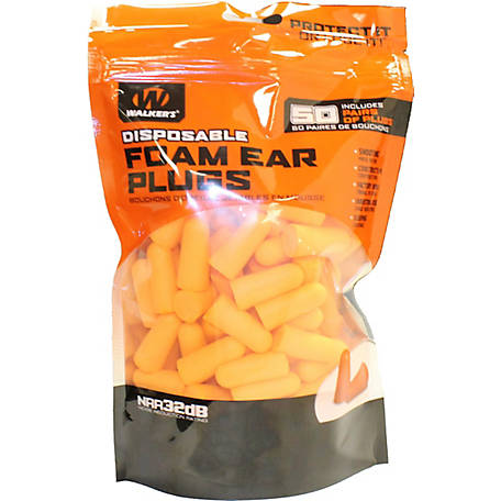 Walker's Game Ear GWP-FP50-BAG Foam Ear Plugs, Bag of 50 Pair