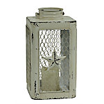 Red Shed Chicken Wire Lantern with LED Candle, White