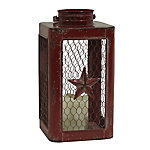 Red Shed Chicken Wire Lantern with LED Candle, Red