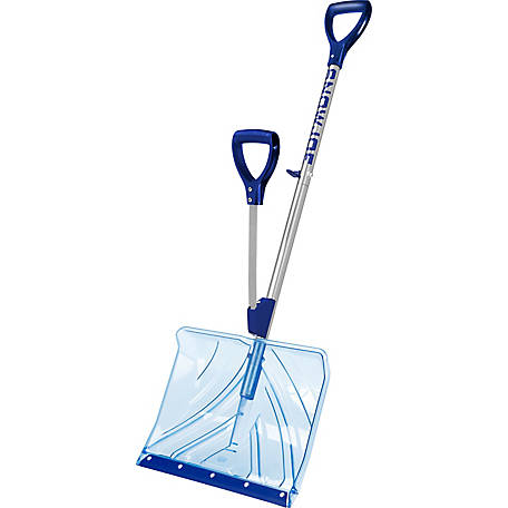 Snow Joe Shovelution SJ-SHLV02 18 in. Strain-Reducing Indestructible Shatter-Resistant Snow Shovel with Spring-Assisted Handle