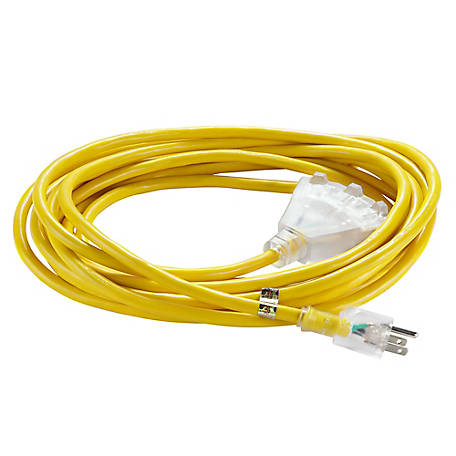 JobSmart 12GA 3C Yellow Extension Cord, 25 ft., WJ-C13 12G3025