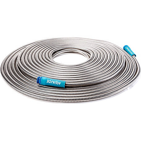 Sun Joe AJSGH100 Heavy-Duty Spiral Constructed Metal Garden Hose, 100 ft.