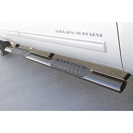 Lund 5 in. Oval Straight Stainless Steel Nerf Bar, 1999-2013 Chevrolet Silverado 1500, 23976005