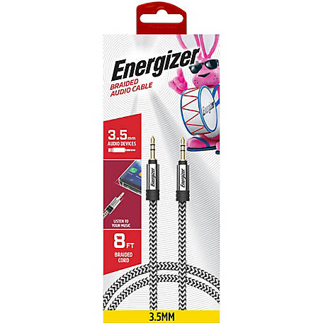 Energizer 8 ft. Nylon Braided Auxiliary Audiocable