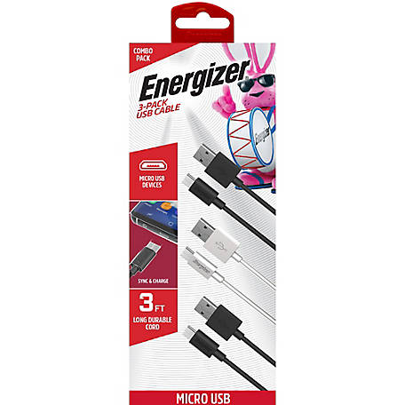 Energizer 3 ft. Micro USB Cable, 3 Pack