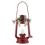 Red Shed Christmas Lantern with Flickering LED Candle, Red