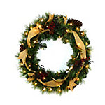 Red Shed 24 in. Holiday Wreath with Berries, Antlers, Ribbons and Pinecones