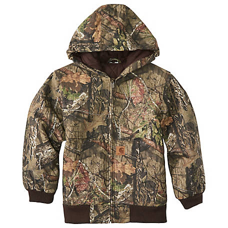 Carhartt Boys' Mossy Oak Camo Active Jac Flannel, Quilt Lined