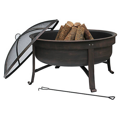 Bond 31 in. Round Steel Fire Pit with Lid, 51058