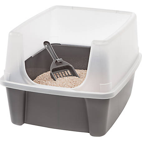 IRIS USA Open-Top Cat Litter Box with Shield and Scoop