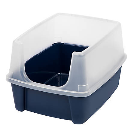 IRIS USA Open-Top Cat Litter Box with Shield, without Scoop