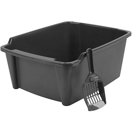 IRIS USA 301760 High Sided Open Litter Pan with Scoop, 7/8 x 14-7/8 x 7-15/16 in., Plastic