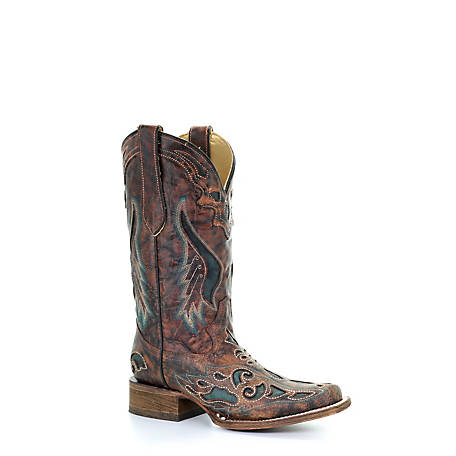 Corral Women's  Inlay Square Toe Boot, A1040