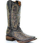 Corral Youth Black/Silver/Gold Wing and Cross Square Toe Boot