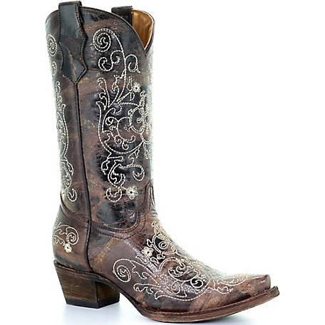Corral Youth Brown Cowhide Beige Embroidery Boot