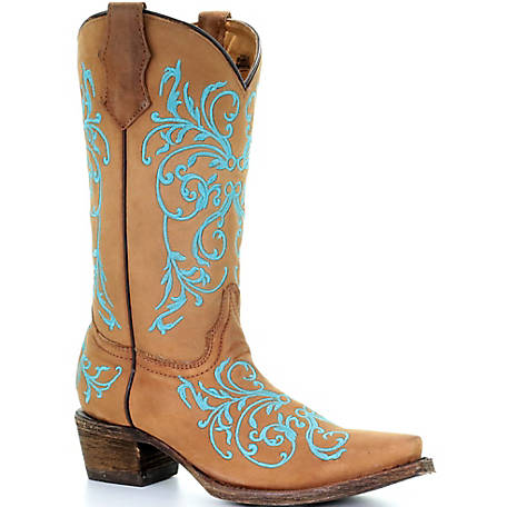 Corral Youth Taupe/Blue Dahlia Embroidery Boot
