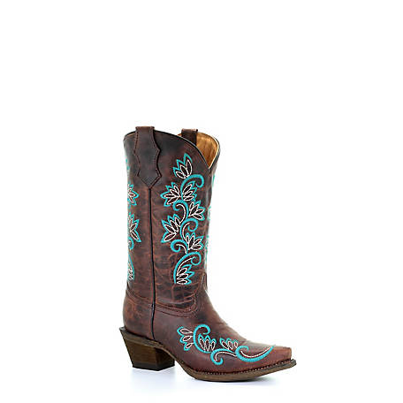 Corral Girls' Brown/Turquoise and Studs Boot