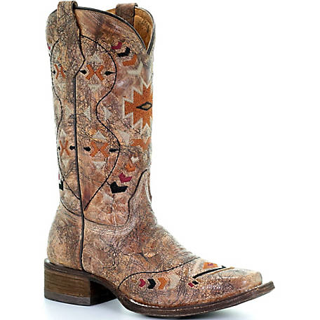 Corral Youth Cognac/Multicolor Ethnic Pattern Square Toe Boot