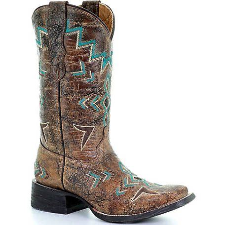 Corral Youth Bronze/Turquoise Square Toe Boot